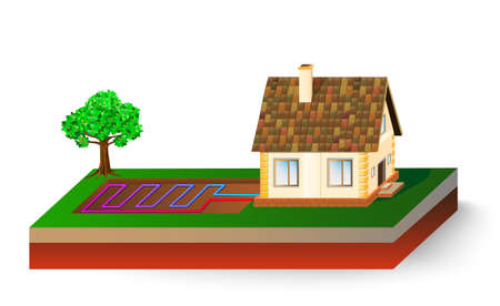 refrigeration cycle: Diagram of a house receiving geothermal energy. Heat pump or Cooling System