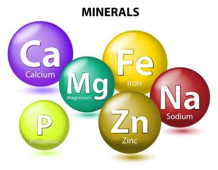 witaminy: Niezbędne minerały chemiczne lub elementem diety. składników odżywczych, mineralnych. minerały i pierwiastki śladowe są elementy nieorganiczne. Ciało ludzkie musi im się rozwijać i dbać o zdrowie. Ilustracja wektorowa
