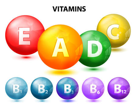 letter art: button with vitamins. Set. Ascorbic acid (vitamin C), Retinol (vitamin A), Cholecalciferol (vitamin D3), Tocopherols (vitamin E) and vitamins B complex
