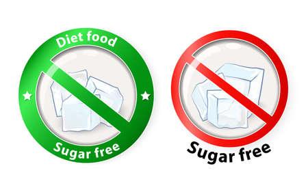 sugar cube: sugar free. Healthy food symbols