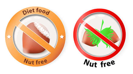 Risk Free: nuts free. Vector illustration showing a hazelnuts inside a forbidden sign, for nuts free products Illustration
