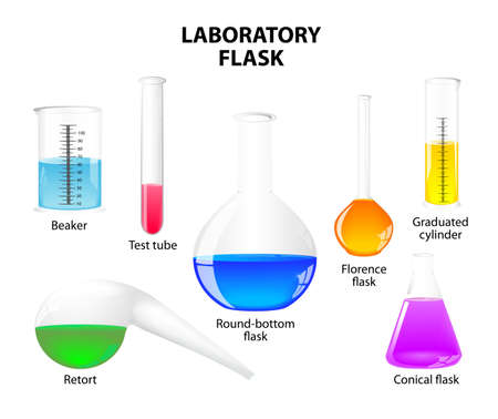 erlenmeyer: glass laboratory flasks and test tubes with colorful liquids. isolated on white background. Set