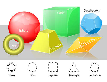 cuboid: Geometry. Cube, Pyramid, Sphere, Torus, Disk, Triangle, Pentagon, Octahedron and Decahedron