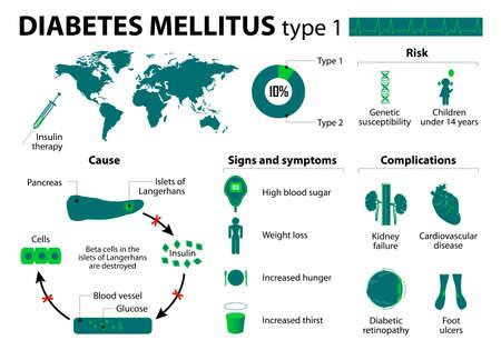 Diabetes mellitus type 1.  Vettoriali