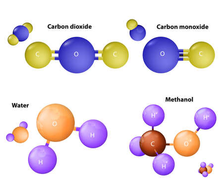 reaction: molecules Carbon dioxide and  Carbon monoxide. Water molecule and Methanol molecule. Chemical substance  formula. Atoms connected. Illustration