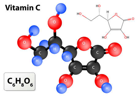 antioxidant: vitamin c. model of vitamin C molecule. Vitamin C molecular structure