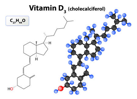 atomic symbol: Cholecalciferol or vitamin D3. model of vitamin D molecule. Cholecalciferol molecular structure