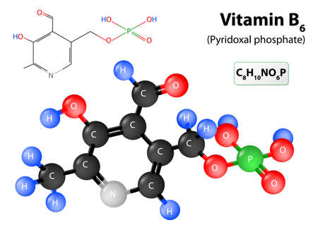 atomic structure: Pyridoxal phosphate the active form of vitamin B6. model of vitamin B6 molecule. Pyridoxal phosphate molecular structure