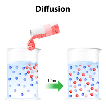 Diffusion - process in physics. Particles in a glass of water randomly move around, the particles will eventually become distributed randomly and uniformly. It is a process, which involves movement of a substance from a region of its higher concentration