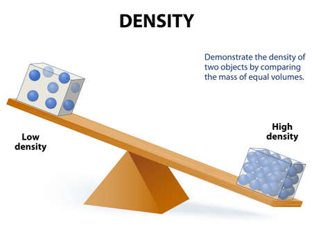 Density. Demonstrate the density of two objects by comparing the mass of equal volumes.