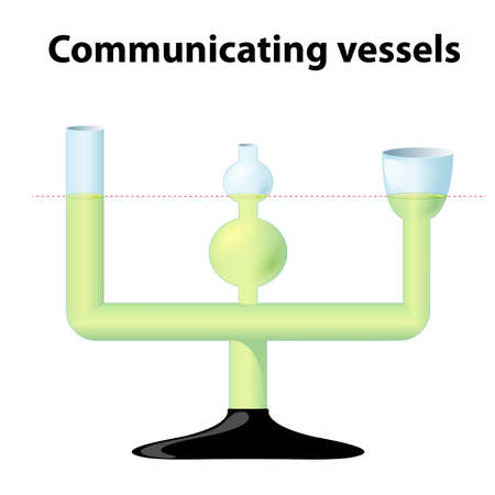 communicating: Communicating vessels. 3 inter-communicating glass tubes of different diameters and shapes. demonstration tool for the observation of fluid dynamics. when the liquid settles, it balances out to the same level in all of the containers