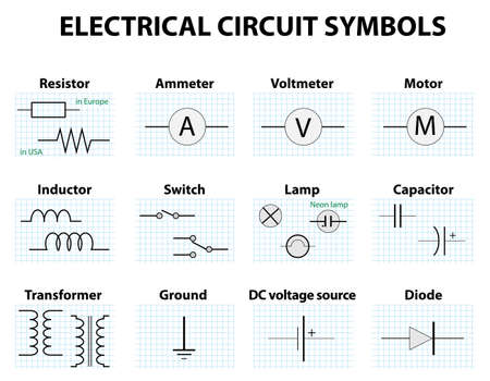 electronic components: Electronic symbol. Electric circuit symbol element set. Pictogram used to represent electrical and electronic devices.