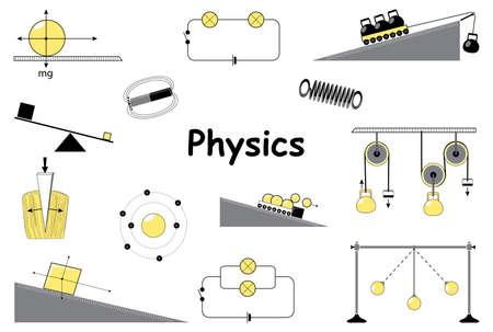 물리학 및 과학 아이콘을 설정합니다. 고전 역학. 실험 장비, 도구, 자석, 원자, 진자, 뉴턴의 법칙과 아르키메데스의 간단한 메커니즘