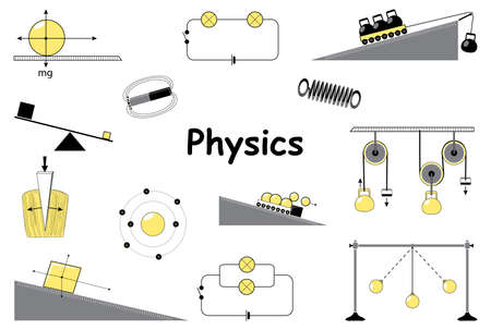 Physics and science icons set. Classical mechanics. Experiments equipment, tools, magnet, atom, pendulum, Newtons Laws and the simplest mechanisms of Archimedes