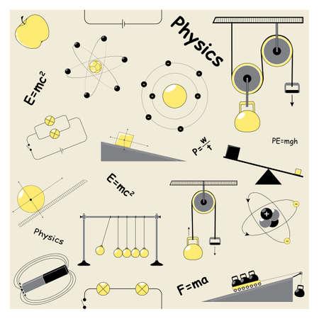 balanza de laboratorio: Modelo incons�til con los elementos de la f�sica. F�sica y Qu�mica. Puede ser utilizado para el papel pintado, patrones de relleno, de textiles, de fondo p�gina web de texturas de superficie y la decoraci�n documento Vectores