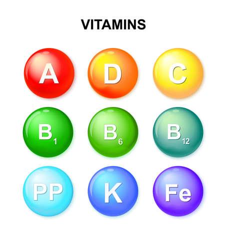 thiamine: button with vitamins. Set. Ascorbic acid (vitamin C), Retinol (vitamin A), Cholecalciferol (vitamin D3), Tocopherols (vitamin E) and vitamins B complex