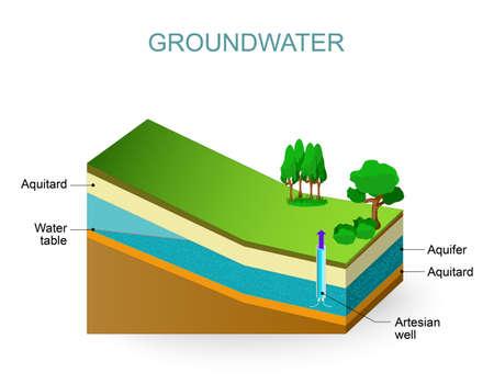 Grundwasser und Artesian Aquifer. Grundwasserspiegel Standard-Bild - 60245265