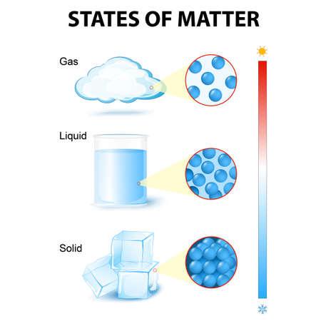 Aggregatzustände. Phase oder Zustand der Materie und Phasenübergang. Dieses Diagramm zeigt die verschiedenen Phasenübergänge zum Beispiel Wasser
