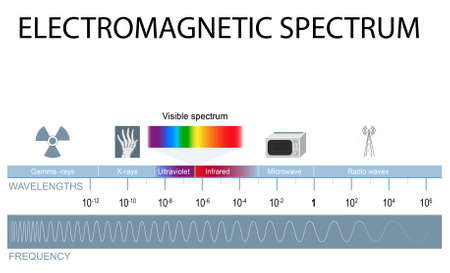 Electromagnetic spectrum. different types of electromagnetic radiation by their wavelengths. In order of increasing frequency and decreasing wavelength Ilustração