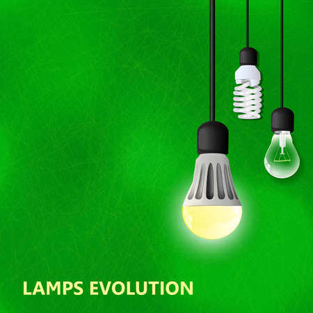 led lamp: Hanging on cords 3 light bulbs with glowing one on a green background. LED lamp, energy saving compact fluorescent lightbulb, and Incandescent light bulb. lamps evolution. Green energy Illustration