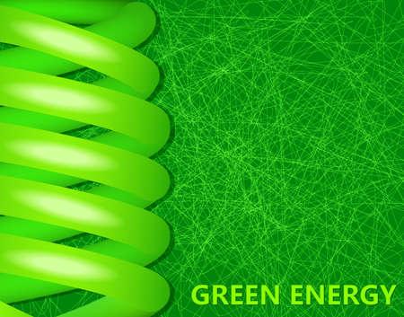 energysaving: ecological lightbulbs on a green background; environmental design. Illustration
