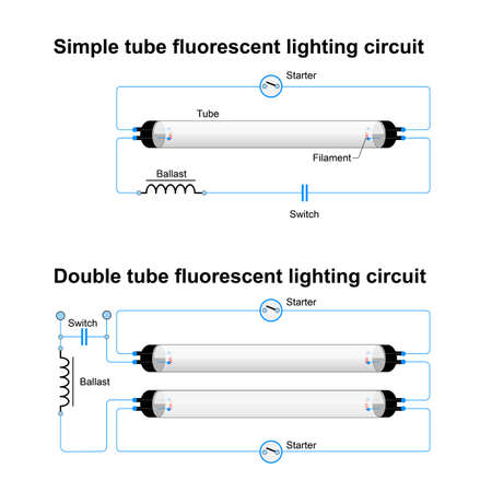 fluorescent tube: Single and Double tube fluorescent lighting circuit. Simple vector diagram