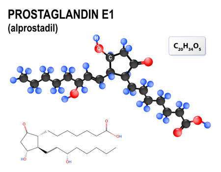 a1: Prostaglandin E1, or alprostadil. medication for treatment of erectile dysfunction. Structural chemical formula and model of  PGE1. Illustration