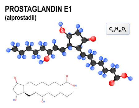 erectile dysfunction: Prostaglandin E1, or alprostadil. medication for treatment of erectile dysfunction. Structural chemical formula and model of  PGE1. Illustration