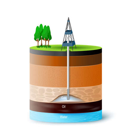 Extracting gas and oil. ground cross-section showing gas, oil and water level. Round Vector isometric.   イラスト・ベクター素材