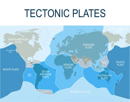 Plate tectonics. Earth's lithosphere. Scientific theory. Illustration shows Boundaries of Major (main) and minor plates.  Continental drift.