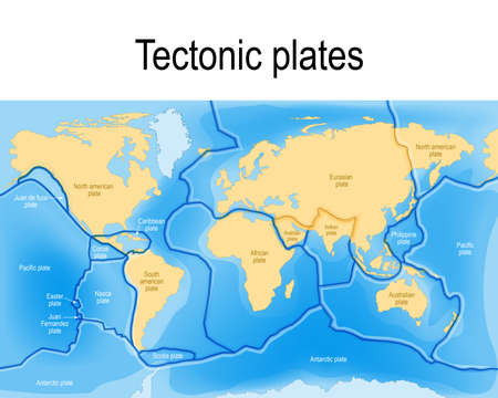 Tectonic plates. World map with major an minor plates. Vector illustration. Illustration
