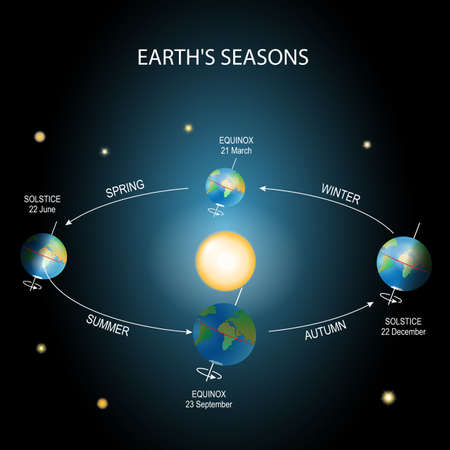 Earth's season. Illumination of the earth during various seasons. The Earth's movement around the Sun. Top position: vernal equinox. Bottom: autumnal equinox. Left: summer solstice. Right: winter solstice.  イラスト・ベクター素材