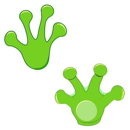 Frog print set vector icon 일러스트