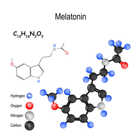 Melatonin is a hormone that regulates sleep and wakefulness. Structure of a molecule. chemical formula and model of the Melatonin molecule. vector illustration for medical, educational and science use Illustration