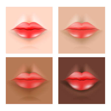 Lips on the skin. Human's skin tone (asian, caucasian, African, Indian ). Vector illustration for biology, scientific, skincare, and medical use. Иллюстрация