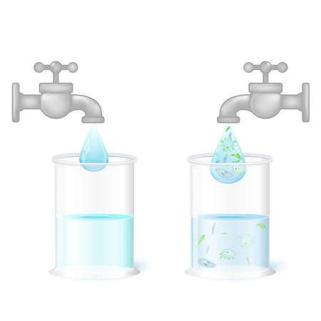 clean drinking (fresh) water and dirty water with germs (amoeba, infusoria, euglena and other microorganisms which are pathogens of diseases of the gastrointestinal tract and dysentery). Two glasses and taps Illustration