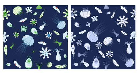 Two seamless patterns. Background with jellyfish, amoeba, Paramecium and other animals. Vector background for your design, biological, science, and educational use.