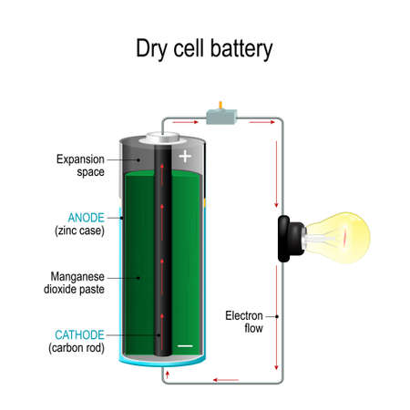 Trockenbatterie. Batteriequerschnitt mit Kathode, Anode und Mangandioxidpaste. Glühbirne, Schalter und Elektronenfluss. Vektorillustration für wissenschaftliche und pädagogische Zwecke.