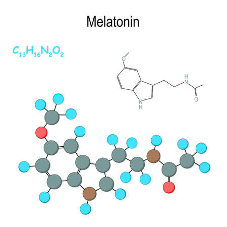 Melatonin. Chemical structural formula and model of hormone molecule. C13H16N2O2. Vector diagram for educational, medical, biological, and scientific use Illustration
