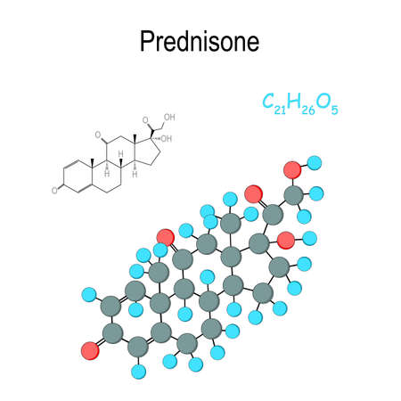 Prednisone. Chemical structural formula and model of hormone molecule. C21H26O5. Vector diagram for educational, biological, and scientific use