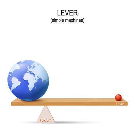 Lever with globe of Earth and small ball. simple machines by Archimedes. lever is a machine consisting of a beam or rigid rod pivoted at a fixed hinge or fulcrum.