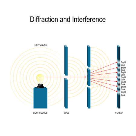 Interferenz und Beugung von Lichtwellen. Youngs Experiment. Newtons Ringe. Beugung durch einen einzelnen Spalt. Beugungsgitter. Quantenphysik. hinter dem Doppelspalt eine Reihe von hellen und dunklen Streifen auf dem Bildschirm erzeugen (Interferenzmuster) Vektorgrafik