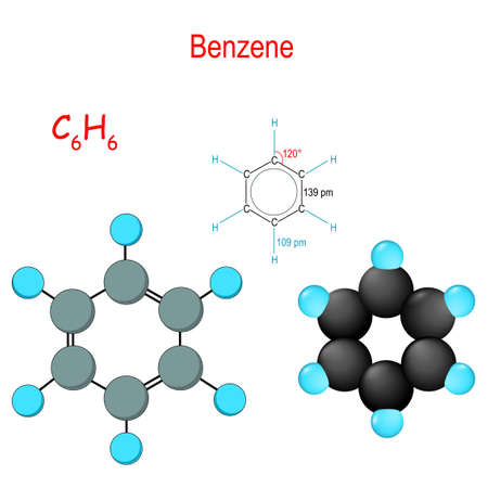 Benzene is an organic chemical compound. C6H6. Chemical structural formula and model of molecule. Vector diagram for educational, medical, biological, and scientific use