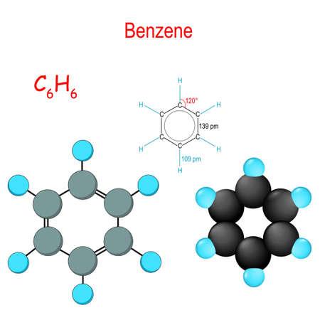 El benceno es un compuesto químico orgánico. C6H6. Fórmula química estructural y modelo de molécula. Diagrama vectorial para uso educativo, médico, biológico y científico. Ilustración de vector