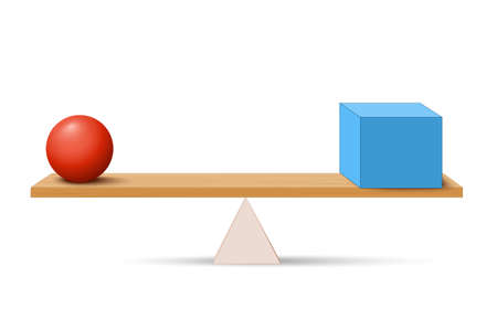 Lever with box and ball. simple machines by Archimedes. lever is a machine consisting of a beam or rigid rod pivoted at a fixed hinge or fulcrum. Vector illustration for education and science use Иллюстрация