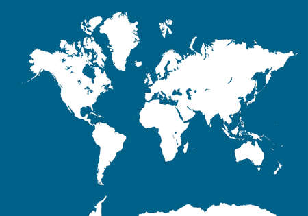 World Map on blue background. Blank White Worldmap. Vector illustration for website, your design, poster, and infographic