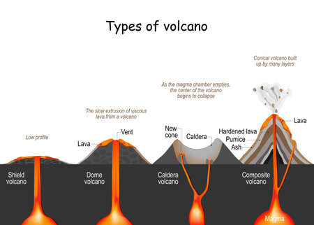 volcano type (shield, dome, composite, and caldera). infographic. vector illustration