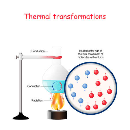 Thermal transformations. Forms of Energy, Transformations of Energy. Laboratory work. Process of moving hot and cold water when heated. Transmission of energy in liquids. convection, conduction, and radiation with example of Laboratory flask on gas fire. Vector diagram  for basic physics, science, education. Illustration