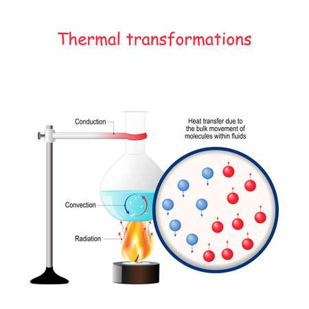 Transformations thermiques. Formes d'énergie, transformations d'énergie. Travail de laboratoire. Processus de déplacement d'eau chaude et froide lorsqu'il est chauffé. Transmission d'énergie dans les liquides. convection, conduction et rayonnement avec exemple de flacon de laboratoire sur feu de gaz. Diagramme vectoriel pour la physique de base, la science, l'éducation.