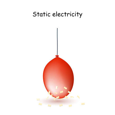 Static Electricity. Red Balloon with pieces of paper. vector illustration for educational use